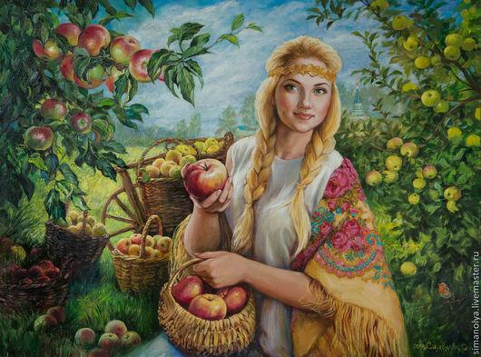 Люди, ручной работы. Ярмарка Мастеров - ручная работа. Купить Яблочный Спас. Handmade. Девушка, портрет, корзина, Русь, блондинка