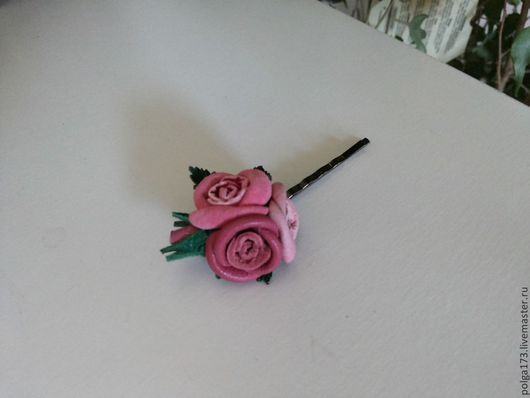 """Заколки ручной работы. Ярмарка Мастеров - ручная работа. Купить Невидимка """"розочки"""". Handmade. Розовый, заколка с цветами, Замша натуральная"""