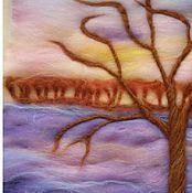 Картины и панно ручной работы. Ярмарка Мастеров - ручная работа Закат  на Волге. Handmade.