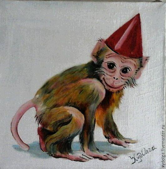 """Картины цветов ручной работы. Ярмарка Мастеров - ручная работа. Купить картинка маслом """"обезьянка""""20-20см. Handmade. Оливковый, зеленый"""