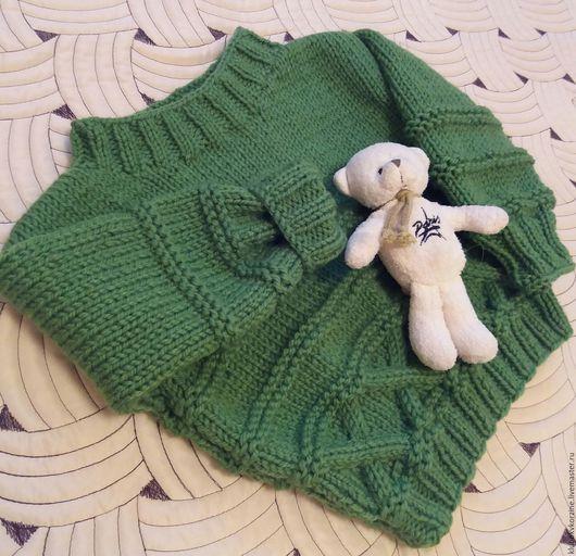Одежда унисекс ручной работы. Ярмарка Мастеров - ручная работа. Купить Детский свитер Зеленое яблочко. Handmade. Зеленый