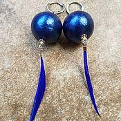 Украшения handmade. Livemaster - original item Cotton pearl earrings - blue BALL. Handmade.