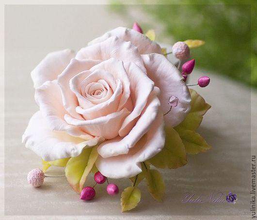 Броши ручной работы. Ярмарка Мастеров - ручная работа. Купить Брошь с чайной розой. Handmade. Кремовый, чайная роза, розы