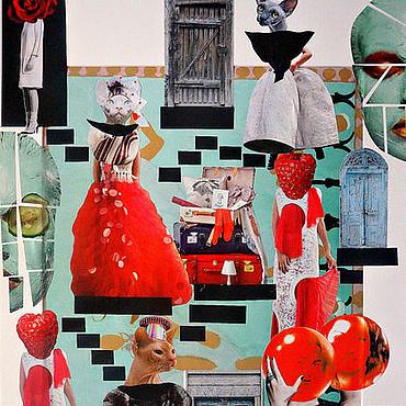 Картины и панно ручной работы. Ярмарка Мастеров - ручная работа Картина в технике коллаж в стиле сюрреализм Баст. Handmade.