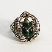 Украшения handmade. Livemaster - original item Silver scarab ring with malachite and citrine. Handmade.