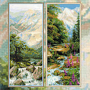 Panels handmade. Livemaster - original item Cross stitch Birch grove. Handmade.