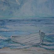 Акварель рисунок Лодка в море
