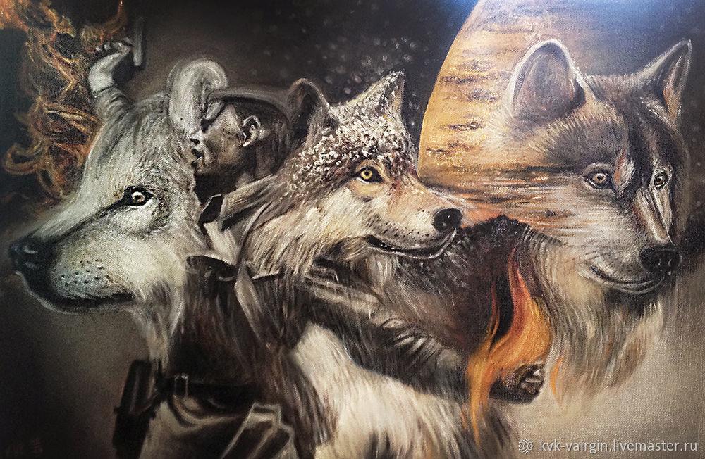 """Картина """"Товарищи волки"""", Картины, Верхнеимбатск,  Фото №1"""
