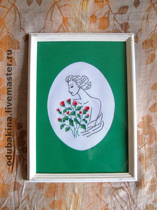 """Люди, ручной работы. Ярмарка Мастеров - ручная работа. Купить Картина вышитая """"Женский силуэт""""-1. Handmade. Картина"""