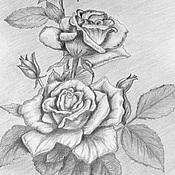 Картины и панно ручной работы. Ярмарка Мастеров - ручная работа Цветы в графике. Handmade.