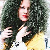Одежда handmade. Livemaster - original item Jacket spring transformer. Yellow with green llama fur.. Handmade.