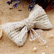 Брошь-булавка ручной работы. Ярмарка Мастеров - ручная работа Брошь бантик из ткани брошь бантик текстильная брошь бохо. Handmade.