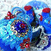 Подарки к праздникам ручной работы. Ярмарка Мастеров - ручная работа ИГРУШКИ НА ЕЛКУ из бархата с вышивкой. Handmade.