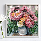 Картины и панно handmade. Livemaster - original item A bouquet of peonies in a vase, a painting in the impasto technique in the bedroom. Handmade.