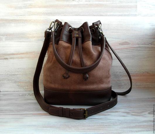Женские сумки ручной работы. Ярмарка Мастеров - ручная работа. Купить Кожаная сумка на плечо.Коричневый, темно-коричневый.Кожаная сумка. Handmade.