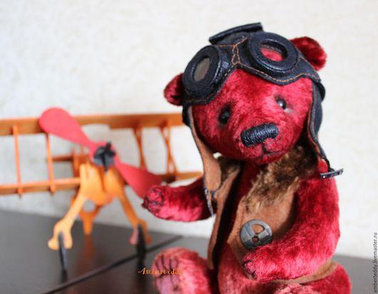 Мишки Тедди ручной работы. Ярмарка Мастеров - ручная работа. Купить Летчик Отто Коллекционная авторская игрушка. Handmade. Бордовый