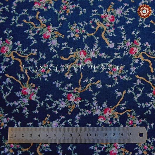 Ткань хлопок `Розочки-букетики на синем`. Код товара: ZT-00013