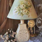 """Для дома и интерьера ручной работы. Ярмарка Мастеров - ручная работа """"Нежность роз""""настольная лампа. Handmade."""
