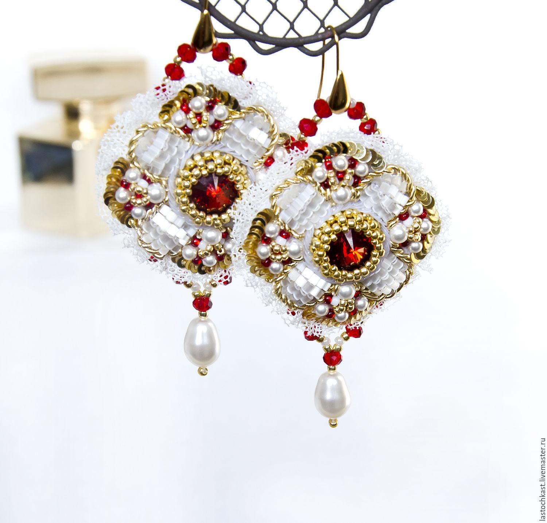 Earrings swarovski crystal, pearls beads, Earrings, Rostov-on-Don,  Фото №1