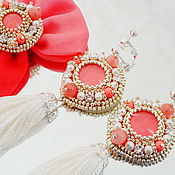 Украшения handmade. Livemaster - original item Clip-on earrings with Tassels coral. Handmade.