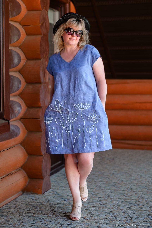 Льняное платье с ручной вышивкой, Платья, Москва,  Фото №1