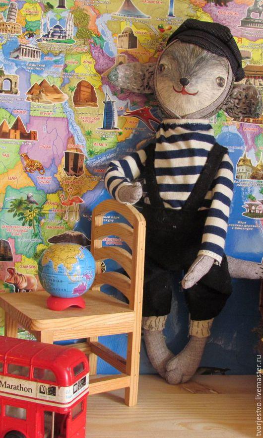 Коллекционные куклы ручной работы. Ярмарка Мастеров - ручная работа. Купить Волчонок-путешественник. Handmade. Бежевый, полимерная глина, волчонок