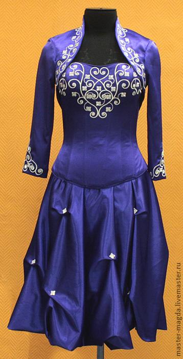 Одежда и аксессуары ручной работы. Ярмарка Мастеров - ручная работа. Купить Платье с вышивкой фиолетовое (выпускное). Handmade. Вышивка гладью