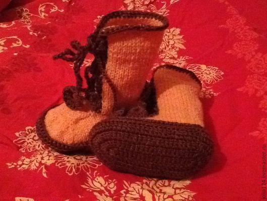 Детская обувь ручной работы. Ярмарка Мастеров - ручная работа. Купить Пинетки- сапожки. Handmade. Рыжий, однотонный, нитки акрил