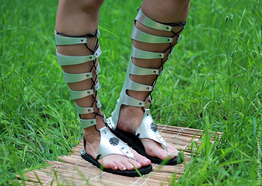 Gladiators are silver leather with lace-up