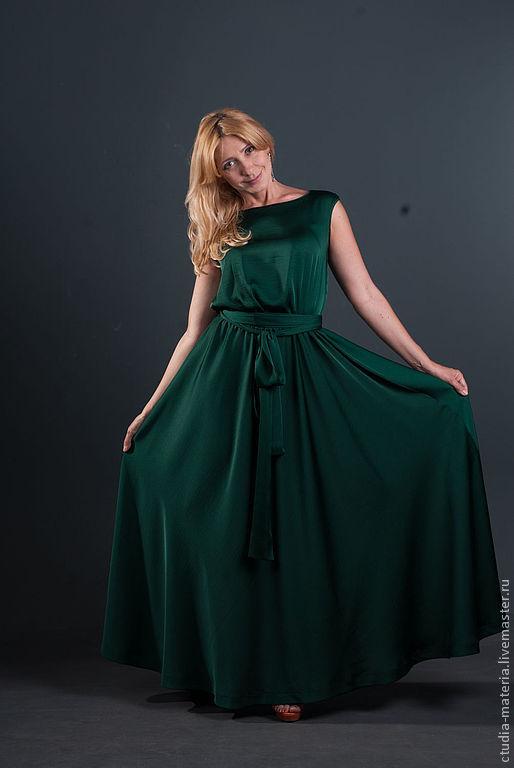 Платья ручной работы. Ярмарка Мастеров - ручная работа. Купить платье длинное с поясом. Handmade. Тёмно-зелёный, платье в пол