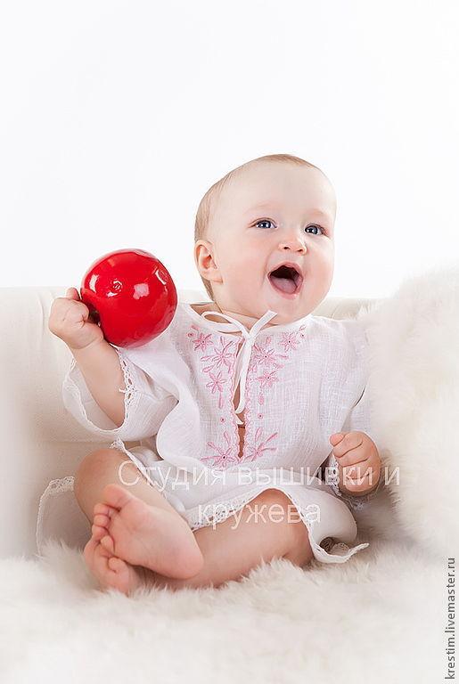 Для новорожденных, ручной работы. Ярмарка Мастеров - ручная работа. Купить Льняная рубашечка для девочки. Handmade. Льняная рубашка