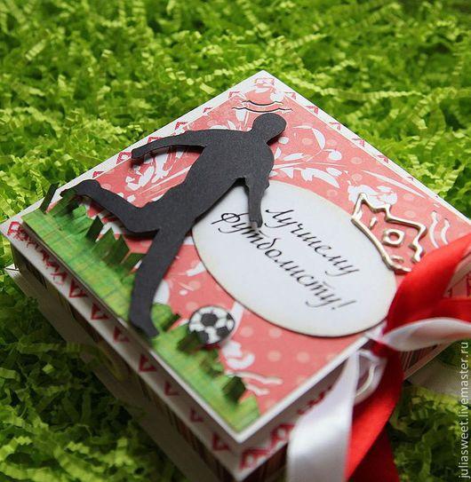 """Подарочная упаковка ручной работы. Ярмарка Мастеров - ручная работа. Купить Коробочка для подарка """"Гооол!"""". Handmade. Ярко-красный, для мужчин"""