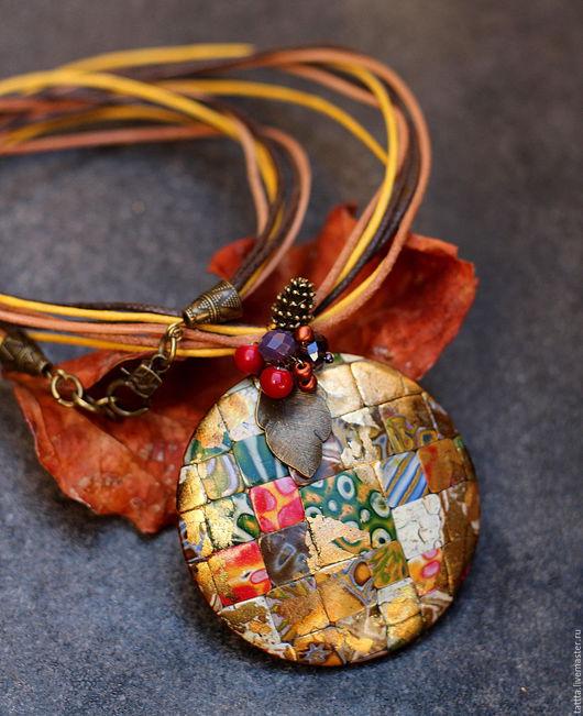 Кулоны, подвески ручной работы. Ярмарка Мастеров - ручная работа. Купить кулон из полимерной глины мозаика 10 яркий. Handmade.