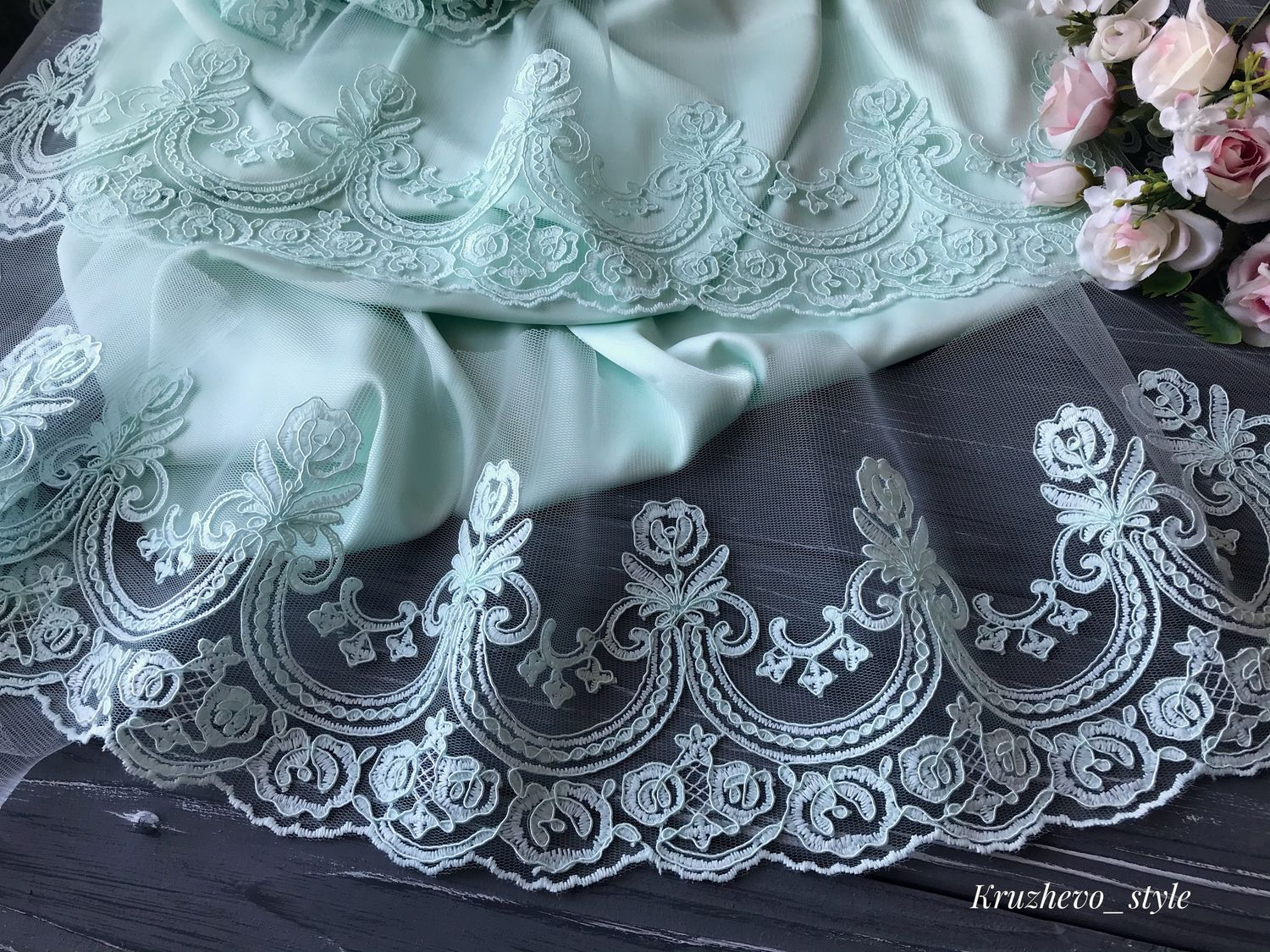 The delicate mint lace cord, Lace, Stary Oskol,  Фото №1