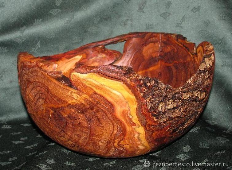 Ваза деревянная, Ваза в стиле ретро, Чаша деревянная
