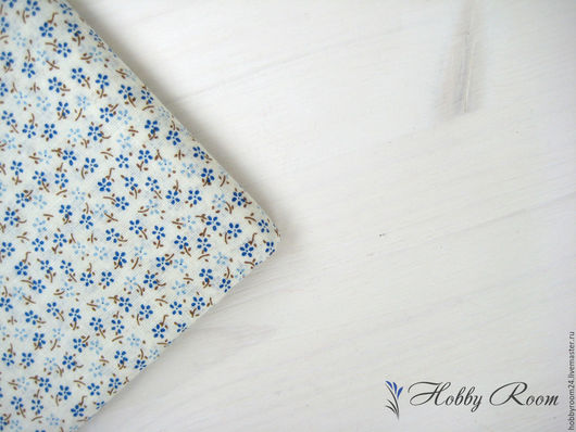 """Шитье ручной работы. Ярмарка Мастеров - ручная работа. Купить Ткань хлопок """"Синие цветочки"""". Handmade. Синий, ткань в цветочек"""