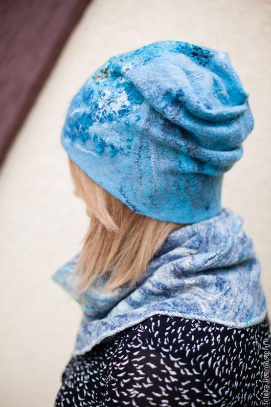 """Шапки ручной работы. Ярмарка Мастеров - ручная работа. Купить женская шапочка """"polaris"""". Handmade. Голубой, стильный аксессуар, абстрактный"""