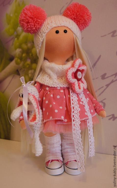 Коллекционные куклы ручной работы. Ярмарка Мастеров - ручная работа. Купить Текстильная куколка- малышка Милочка. Handmade. Коралловый, вискоза