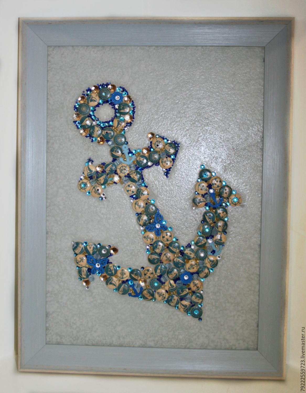 """Купить Панно-картина из пуговиц """"Якорь"""" - стекло, якорь, морская тема, голубой цвет, пуговицы"""