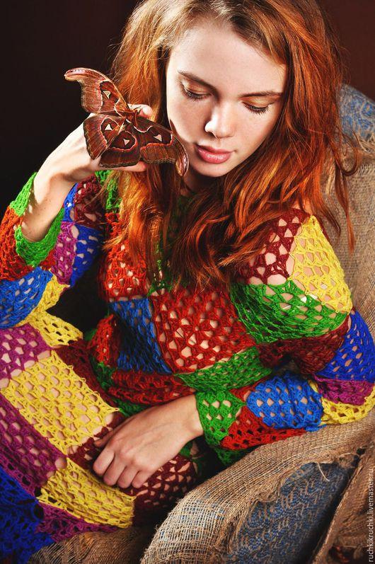 """Платья ручной работы. Ярмарка Мастеров - ручная работа. Купить Платье """"Кашемировый арлекин: Королева"""" крючком из кашемира. Handmade. Комбинированный"""