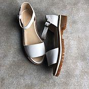 Обувь ручной работы handmade. Livemaster - original item Wind sandals white beige tread sole. Handmade.