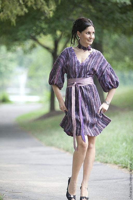 Платья ручной работы. Ярмарка Мастеров - ручная работа. Купить Violet Dress. Handmade. Violet dress, felting, платье с рукавом