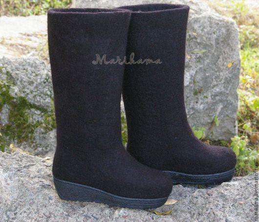Обувь ручной работы. Ярмарка Мастеров - ручная работа. Купить Валенки женские на подошве. Handmade. Серый, валенки с рисунком