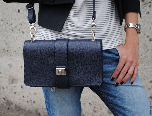 Женские сумки ручной работы. Ярмарка Мастеров - ручная работа. Купить Z011. Handmade. Синий, сумка из натуральной кожи