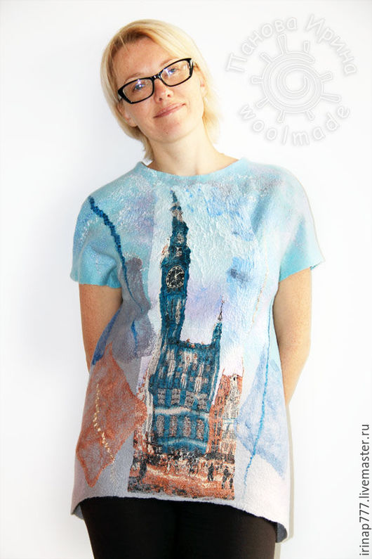 """Кофты и свитера ручной работы. Ярмарка Мастеров - ручная работа. Купить топ """"London"""". Handmade. Голубой, одежда для женщин, шёлк"""