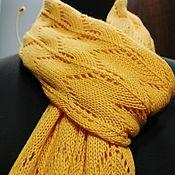 Аксессуары ручной работы. Ярмарка Мастеров - ручная работа Комплект ажурный мериносовый шарф + митенки. Handmade.