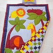 """Для дома и интерьера ручной работы. Ярмарка Мастеров - ручная работа Детский комплект в кроватку """"Африка"""" для мальчика голубой. Handmade."""