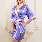 Robes handmade. Livemaster - original item Home silk dressing gown women`s lilac color. A gift to his wife. Handmade.