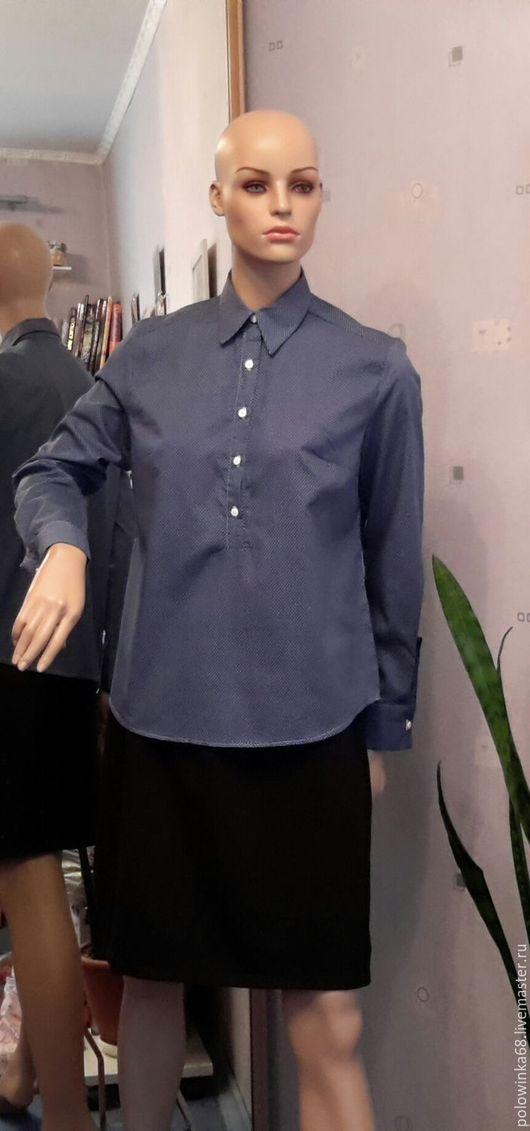 Блузки ручной работы. Ярмарка Мастеров - ручная работа. Купить рубашка. Handmade. Тёмно-синий, офис, блузка женская