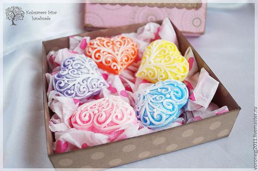 """Мыло ручной работы. Ярмарка Мастеров - ручная работа. Купить Подарочный набор """"Сердечки"""". Handmade. Розовый, голубой, фиолетовый"""